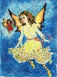 Christmas card angels, watercolor pencil