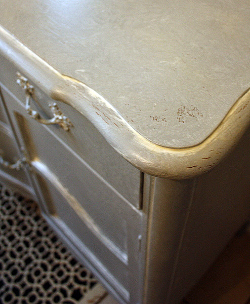 The Buffet (hardware And All) Got Painted With Bonding Primer Tinted Gray.  Then White Washed With Ivory Glaze, And That Was Wiped Off With A Soft, ...