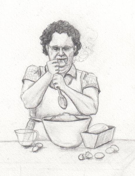 Grandma Cooking Drawing