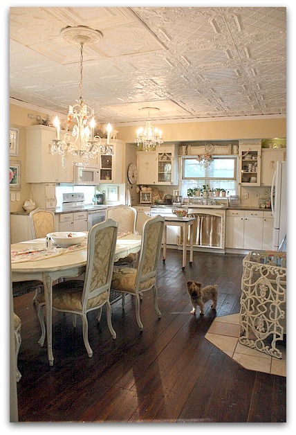 White shabby chic farmhouse vintage kitchen remodel before and after
