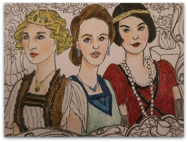 Coloring page downton sisters 029