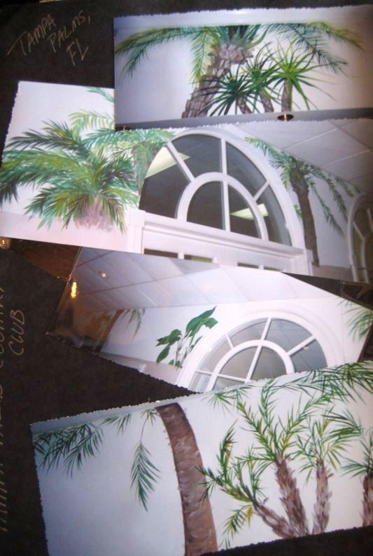 3 palm tree murals