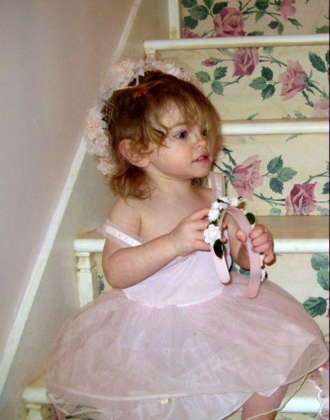 The crinoline under her vintage dress